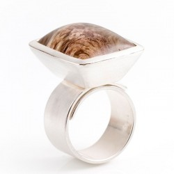 Wrap ring, 925 silver, rock crystal rectangle