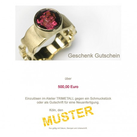 Gift vouchers: € 100 to € 1000
