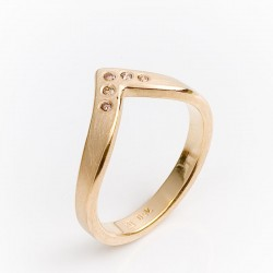 Ring, 750 gold, brilliant-cut diamonds, 0.06 ct