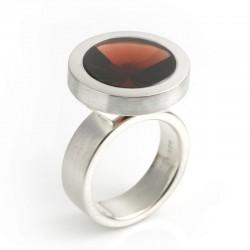 Ring, 925 silver, garnet