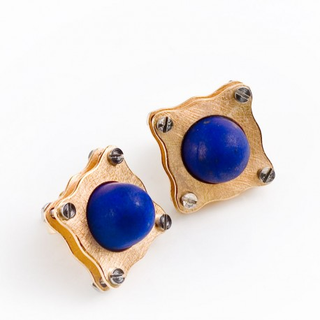 Stud earrings, 750 gold, lapis lazuli