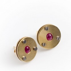 Stud earrings, 585 gold, rubies