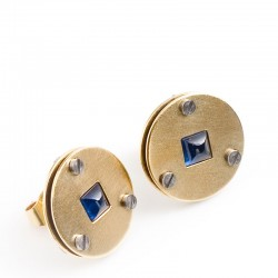 Stud earrings, 585 gold, sapphires