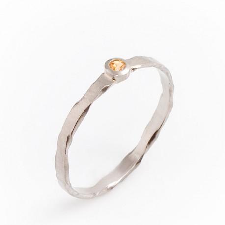 Ring, 950 palladium, mandarin garnet