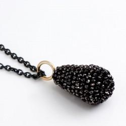 Anhänger, schwarzer Diamant-Tropfen, 750- Gold