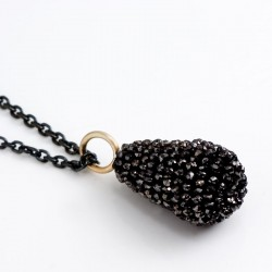 Pendant, black diamond drop, 750 gold