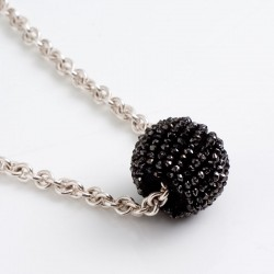 Pendant, black diamond ball, 925 silver