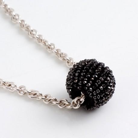 Pendant, black diamond ball, 925 silver