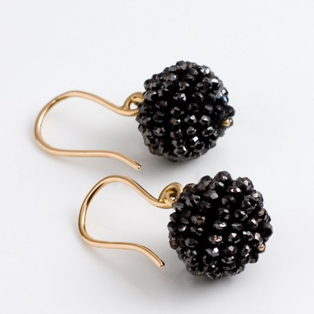 Earrings, 750 gold, black diamond balls
