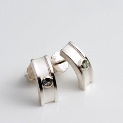 Stud earrings, 925 silver, tourmalines