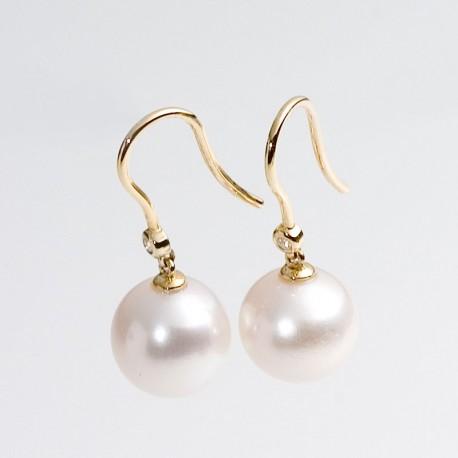 Ohrhänger, Perlen, Brillanten, 585- Gold