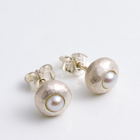 Stud earrings, 925- silver, pearls