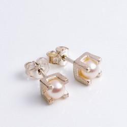 Stud earrings, chaton, 925 silver, pearls