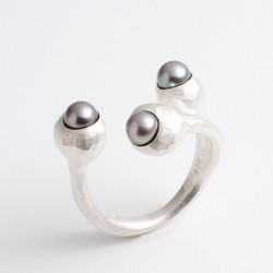 Ring, 925 silver, pearls