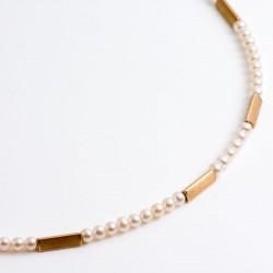 Kette, Perlen, 750- Gold