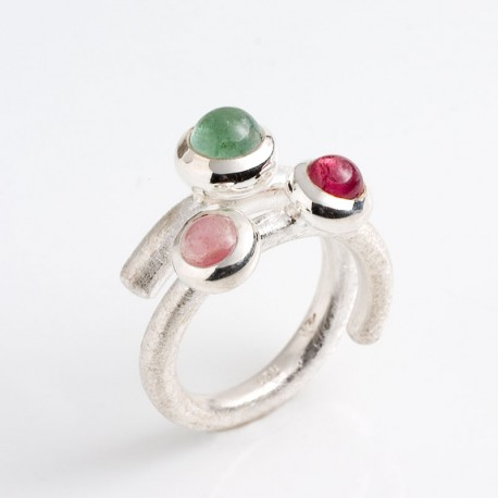 Ring, lollipop, 925 silver, tourmaline