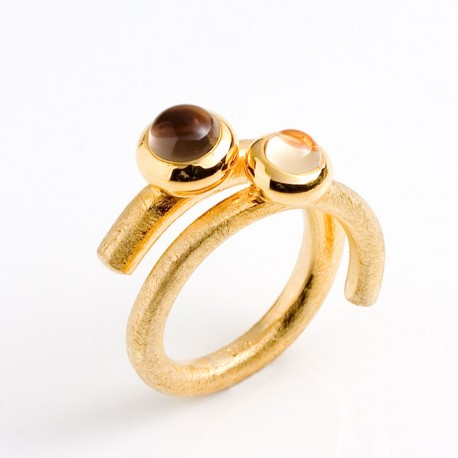 Ring, lollipop, 925 silver, gold-plated, smoky quartz, citrine