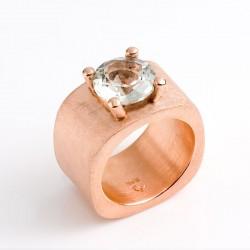 Ring, Querdenker, 925- Silber, vergoldet, Prasiolith