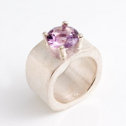 Ring, lateral thinker, 925 silver, amethyst