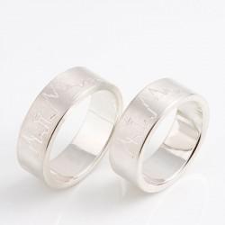 Wedding rings, 925 silver, Cologne skyline