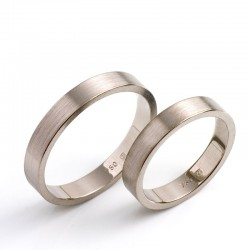 Narrow wedding rings, 750 white gold