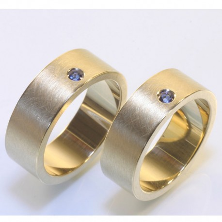 Wide wedding rings, 750 gold, sapphires