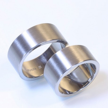 Flat, wide wedding rings, 500 palladium