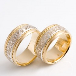 Exceptional wedding rings, 750 gold, 925 silver, engraving