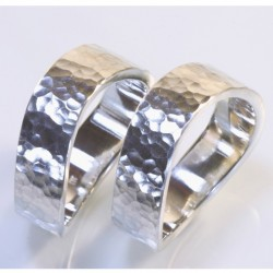 Trauringe, 925- Silber, Welle mit Hammerschlag