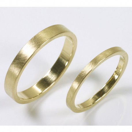 Wedding rings, 750 gold, different widths