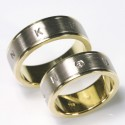 Two-tone wedding rings, 750 yellow and white gold, brilliant