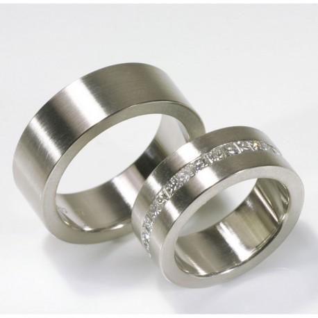 Wedding rings, 950 palladium, princess diamonds