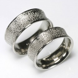 Concave wedding rings, 950 palladium grain