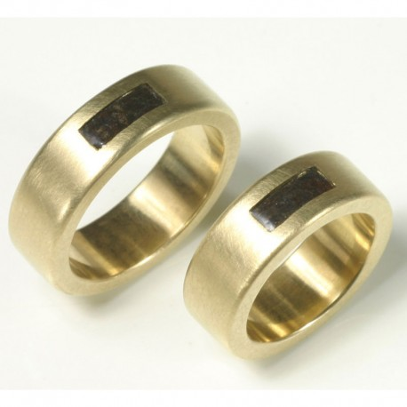 Special wedding rings, 585 gold with iron