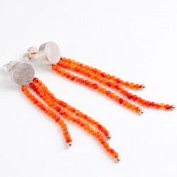 Stud earrings, 925 silver, carnelian