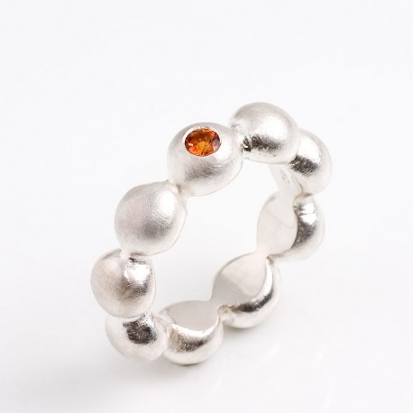 Ball ring, 925 silver, citrine