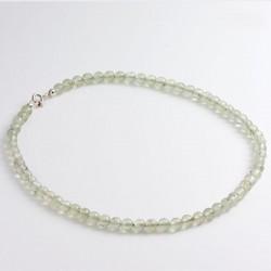 Necklace, prehnite, 925- silver