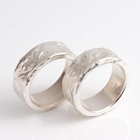 Trauringe, 925- Silber, lebendig modelliert