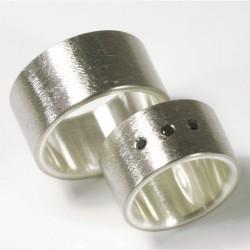 Trauringe, 500- Palladium, 925- Silber, schwarze Diamanten