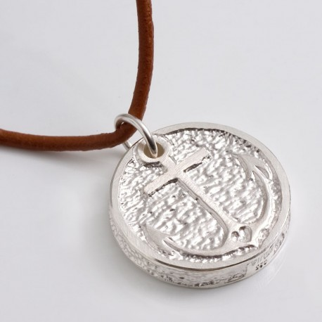 """Anhänger """"Anker"""", 925- Silber, Lederband"""