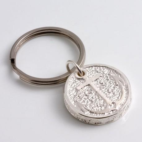 """Keychain """"anchor - flag"""", 925- silver, steel"""