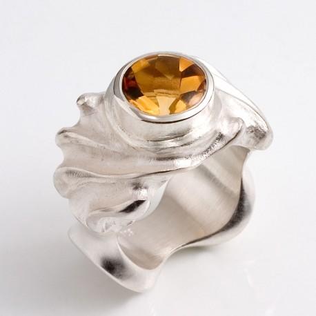 Ring, 925 silver, citrine