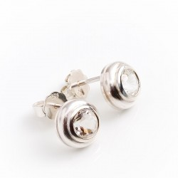 Stud earrings, 925 silver, rock crystals