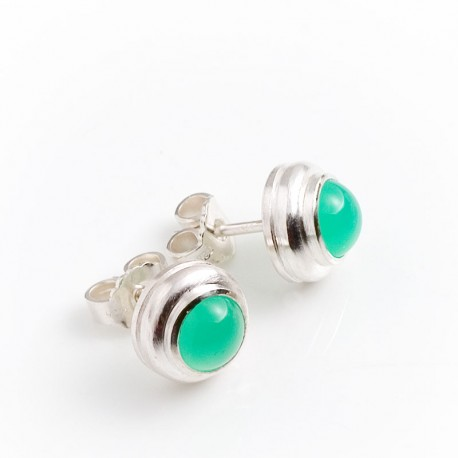 Stud earrings, 925 silver, chrysoprase