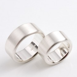 Flat wedding rings, 925 silver