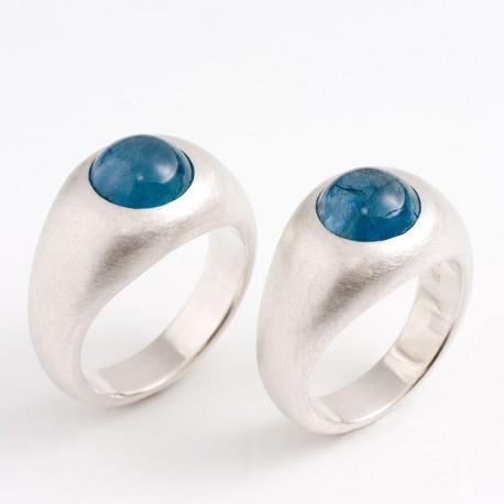 Eheringe, Bandringe, 925- Silber, Aquamarine