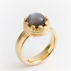Turmring, 925- Silber, 750- Gold