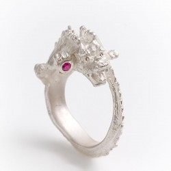 Dragon ring, 925 silver, ruby