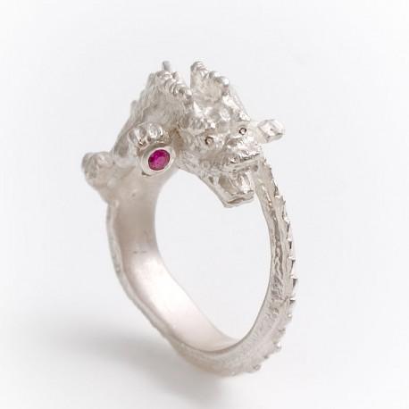 Drachenring, 925- Silber, Rubin