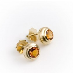 Stud earrings, 585 gold, citrine